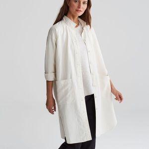 Eileen Fisher Stand Collar Linen Shirt Jacket